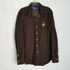 NEW Polo Ralph Lauren Corduroy Shirt Tan with Big Colorful Bleecker Polo Player
