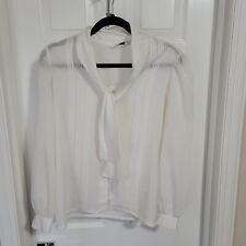 Vintage Judy Bond 14 Blouse Pussy Bow Pintuck Ivory White Collar