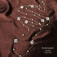 Collier Sautoir Chaine Long Perle de Culture Nacre Veritable Blanc Trefle TZ6