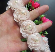1yd Vintage Flower Pearl Lace Edge Trim Wedding Ribbon Applique DIY Sewing Craft