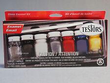 TESTORS PAINT HOUSEHOLD GLOSS ENAMEL KIT (6) COLORS thinner brush black TES9115