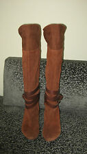 Ladies Nine West Suede Stacked Heel Slouchy OTK Buckle Boots 38 1/2 New