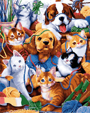 """16x20"""" DIY Acrylic Paint By Number kit Oil Painting On Canvas Animals Dog Cat 73"""