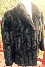 BLACK SOFT FAUX FUR Vintage Rondo Casual Coat Fully Lined Size Medium. Beautiful
