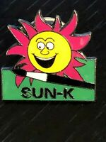Collectible Vintage Sun-K Colorful Face Metal Pinback Lapel Pin Hat Pin