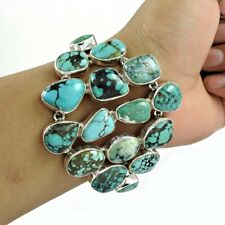 Cabochon Shape Natural Turquoise Chain Bracelet 925 Sterling Silver Fine Jewelry