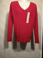 St Johns Bay Womens Cable Knit Sweater Size Small Petite  Red Pullover Solid