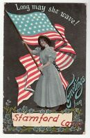 [53766] 1910 POSTCARD GREETINGS FROM STAMFORD CONNECTICUT WOMAN & AMERICAN FLAG