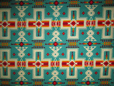 Navajo Indian Cross Turquoise Orange Print Cotton Fabric FQ