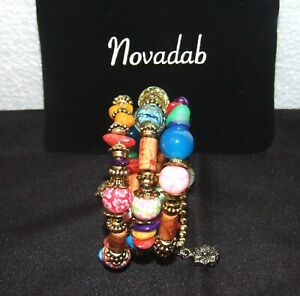 Colorful Boho Multi-Layer Beaded BRACELET w/ Black Velvet Bag - By NOVADAB - NEW