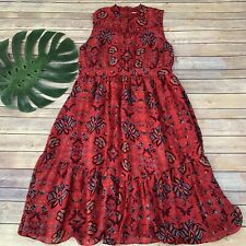 Modcloth High Neckline Midi Dress Size XL Red Blue Floral Sleeveless Tiered