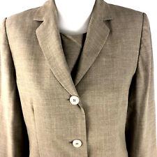 Casual Corner Ladies Dress Suit 12 Tan Career Lined Suit Jacket Wool Rayon