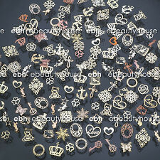 300 Pcs 3D Metal DIY Nail Art Tips Stickers Decal Golden Slices Decoration EG203