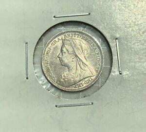Great Britain Silver 3 Pence - 1901 - Final Date Queen Victoria in Bright BU!