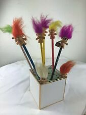 Vintage Wooden Pencils Trolls-2 pencil toppers.Lot of 8.