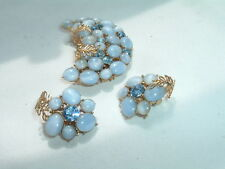 Vintage Pakula signed Blue Moonstone and Rhinestone Pin and Clip Earrings Set