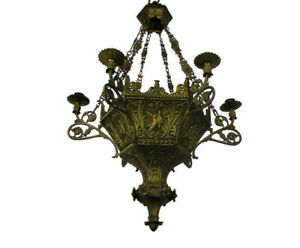 Gothic Castle 19th Century Chandelier Bronze  Doves  HTF For 6 Candles WOW