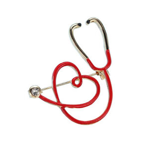 Brooch Stethoscope Doctor And Red Heart, Steel Golden