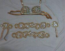 Egyptian Belly Dance Costume bra & Belt Set Professional Dancing Gold 5 piece