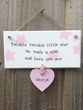 Handmade Personalised Plaque New Newborn Baby Nursery Gift Present Shabby Chic