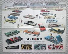 1958 Ford Brochure/POSTER: FAIRLANE,500,CUSTOM,300,SKYLINE,COUNTRY SQUIRE Wagon,