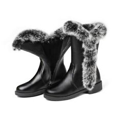 Womens Fur Trim Winter Snow Boots Ankle Boots Fleece Lined Warm Shoes Size 34-48