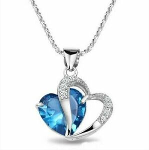 Fashion Womens Ladies Heart Love Crystal Sliver Chain Pendant Necklace Lake Blue
