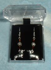 1DOGS DACHSHUND W/CRYSTALS EARRINGS Silvr Pltd Surgical Steel FR HKS BOX