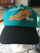 I'd Rather Be Racing Baseball Cap Hat Checkered Flag Snap Back Blue