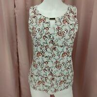 White House Black Market Women's Floral Sleeveless Shirt Blouse Extra Small XS