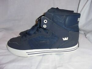 SUPRA MEN BLUE LEATHER LACE UP TRAINERS SIZE UK 10 EU 45 US 11 VGC