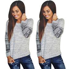 Fashion Womens Long Sleeve Shirt Casual Lace Blouse Loose Cotton Tops T Shirt KU