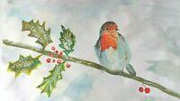 Original Watercolour ROBIN painting great gift unframed UK art FREE P&P