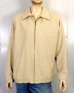 euc L.L. Bean recent Men's Tan Khaki Full Zip Harrington Jaket Chin Strap L tall