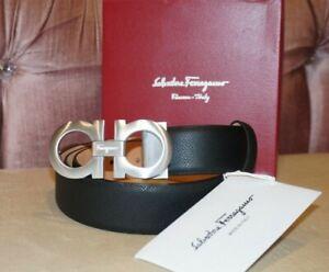 Salvatore Ferragamo Belt pants size 32-44-36-38-40 Brushed Silver Buckle