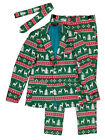 Mens Green Fair Isle Ugly Christmas Holiday Suit Sportscoat Slacks & Tie Small