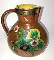 Vintage Antique Country Farmhouse Pottery Brown Pitcher Hand Painted Floral Fern