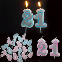 Shinning Pink/Blue Crown Number Candles Birthday Party Candle Cake Decor ( 0-9 )