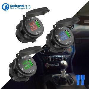 QC 3.0 USB Charger Socket With Digital Voltmeter Ammeter For Motorcycle Boat Car