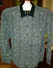 camicia uomo vintage anni 80 grigio con stampa kashmir tonalità grigio taglia M