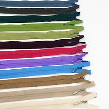 """7"""" YKK Invisible Zipper 100 Piece Multi-color Assortment Nylon Coil Closed End"""