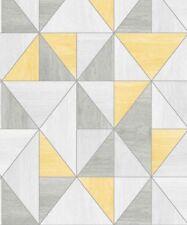 APEX YELLOW GREY WOODGRAIN TRIANGLE GEOMETRIC WALLPAPER FINE DECOR FD42223