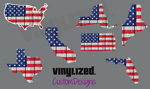 American Flag State Flag Outline Sticker Vinyl Decal US USA MERICA Map America