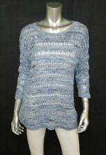 KNIT by HAMPSHIRE STUDIO Blue Loose Crochet 3/4 Sleeve Pullover Sweater sz M
