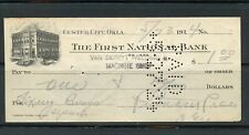 US THE FIRST NATIONAL BANK OF CUSTER CITY, OKLAHOMA CANCELLED CHECK 5/23/1924
