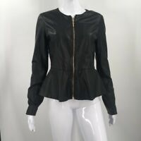 Marciano Womens Peplum Jacket Black Full Zip Up Crew Neck 100% Leather M