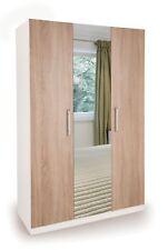 Oak / White 3 Door Wardrobe with Mirror W120cm x D52cm x H187cm HUTTON