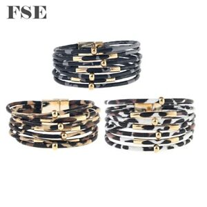 Women Leather Wrap Bracelet Magnet Clasp Beads Charms Bracelet Multi Color 035