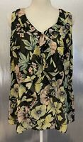 Cabi Sz L Style 3265 Osaka Ruffle Front Floral Sheer Tank Top Sleeveless Blouse