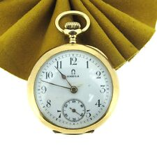 OMEGA 14k Yellow Gold Pocket Watch Grand Prix Paris 1900 Hand Winging 30MM